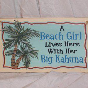 Wall Plaque Beach Girl & Big Kahuna